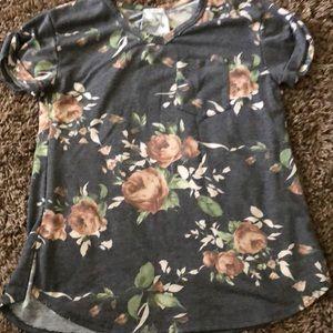Denim colored floral pocket tee